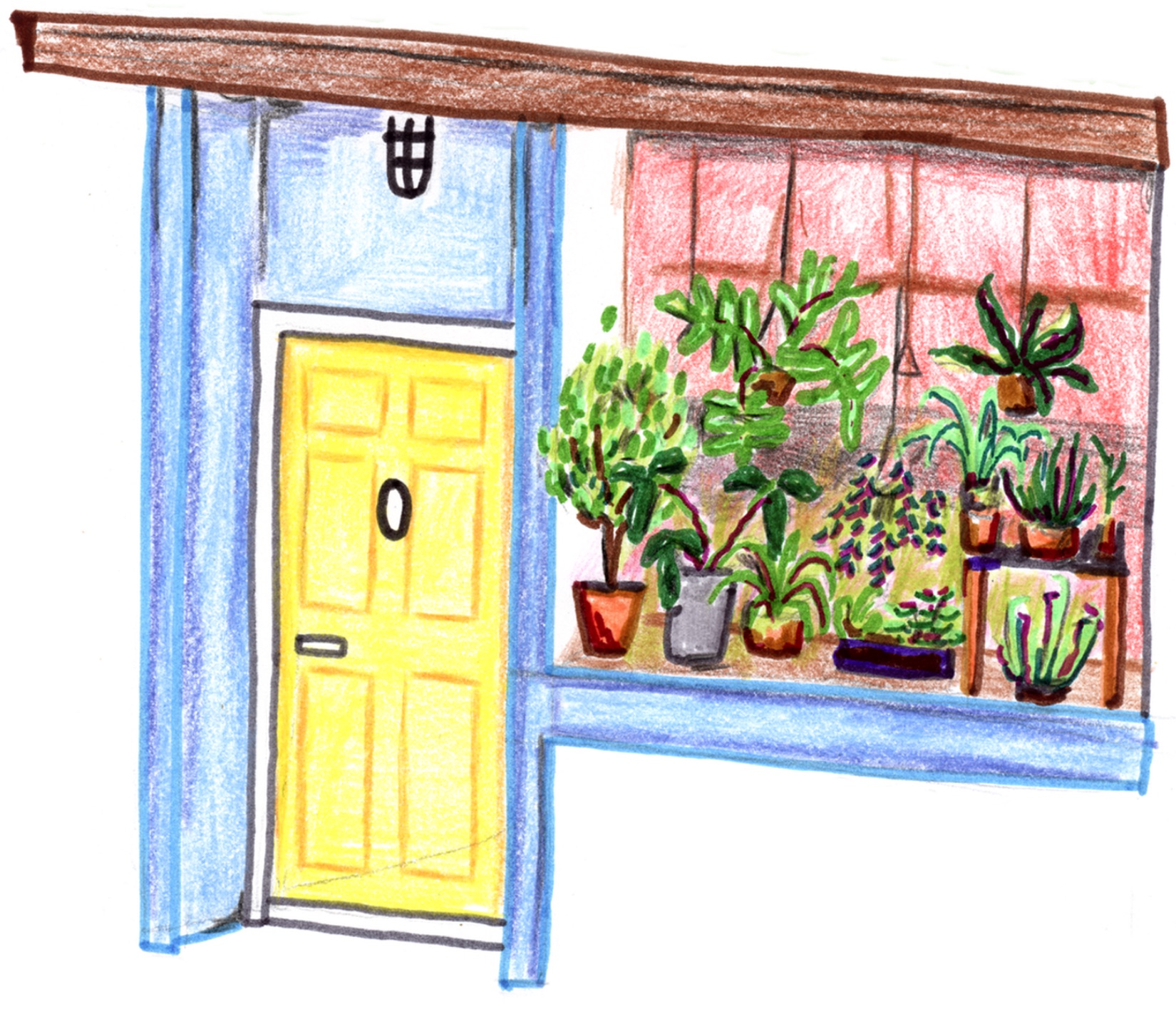 Drawing of the front of Dorsa Brevia: a recessed door next to a large window with plants.